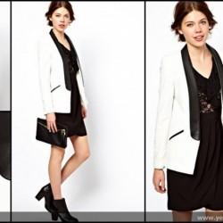 Deri Yakalı Trend Blazer Ceket Modelleri