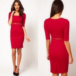 Kemerli Kırmızı Yazlık Elbise Modelleri