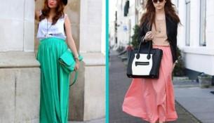 Renkli Uzun Etek Modelleri