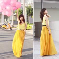 Sarı Uzun Etek Modelleri