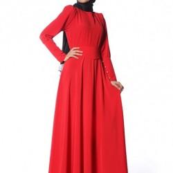 Tesettür Kırmızı Yazlık Elbise Modelleri
