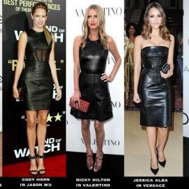 Ünlülerin Tercihi Deri Detaylı Elbise Modelleri