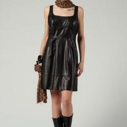 Farklı Deri Detaylı Elbise Modelleri