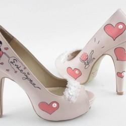 Kalp Motifli Yeni Sezon Gelin Ayakkabısı Modelleri