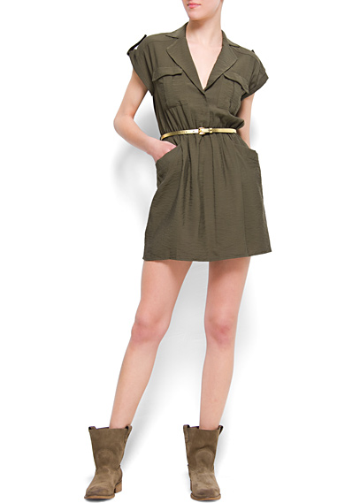 Kemerli Mini Elbise 2015 Haki Rengi Giyim Modelleri