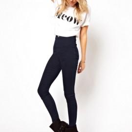 Koyu Renk Yüksek Bel Kot Pantolon Modelleri