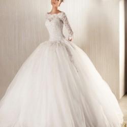 Prenses Uzun Kollu Gelinlik Modelleri