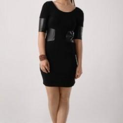 Siyah Deri Detaylı Elbise Modelleri