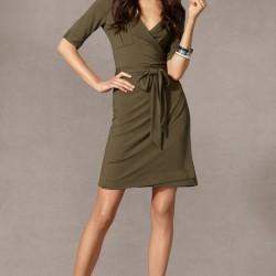 V Yaka 2015 Haki Rengi Giyim Modelleri