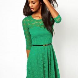 Yeşil Renkli Dantelli Elbise Modelleri