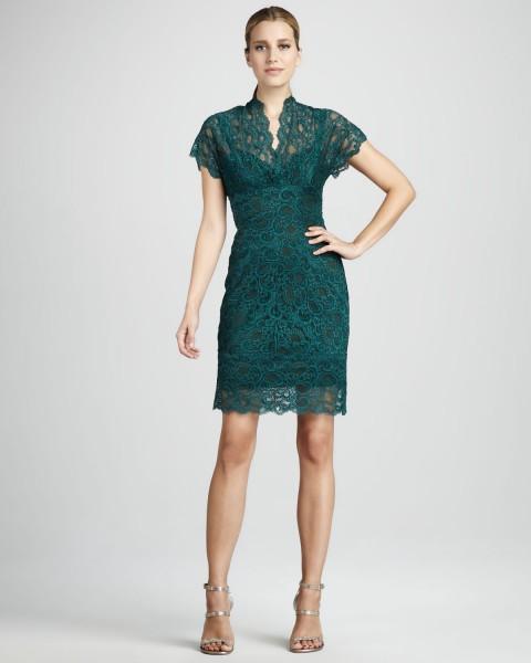 Zümrüt Yeşili Renkli Dantelli Elbise Modelleri