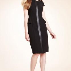 Zarif Deri Detaylı Elbise Modelleri