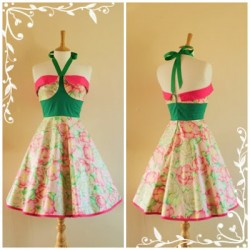 Çiçek Desenli Vintage Elbise Modelleri