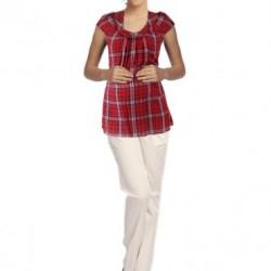 Kırmızı Detaylı Ekose Bluz Modelleri