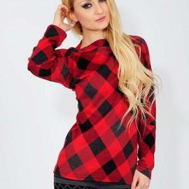 Kırmızı Siyah Ekose Bluz Modelleri