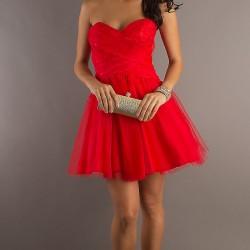Mini Kırmızı Balo Elbisesi Modelleri