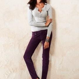 Mor Kadife Pantolon Modelleri