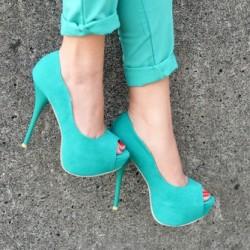 Süet Su Yeşili Ayakkabı Modelleri