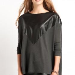 Siyah Deri Detaylı Bluz Modelleri