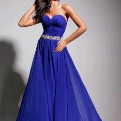 Straplez Gece Mavisi Elbise Modelleri