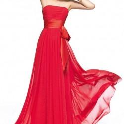 Straplez Kırmızı Balo Elbisesi Modelleri