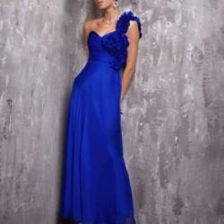 Tek Omuz Gece Mavisi Elbise Modelleri