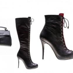 Topuklu Bot İnci Deri Ayakkabı Modelleri