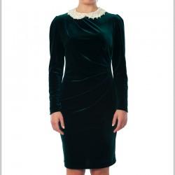 Yakalı Kadife Elbise Modelleri