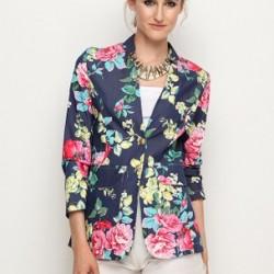 Yarım Kol Çiçek Desenli Ceket Modelleri