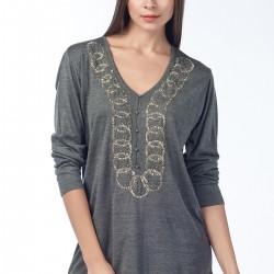 İşlemeli Gri Bluz Anka Maya Bluz ve Hırka Modelleri
