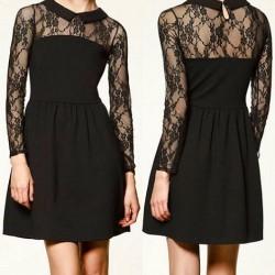 Dantelli Siyah Zara Elbise Modelleri