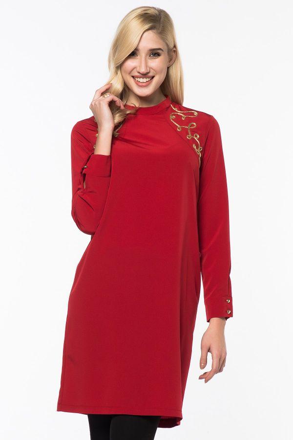 Kırmızı İpekzade Tunik Modelleri