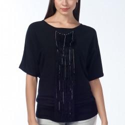 Püsküllü Siyah Bluz Anka Maya Bluz ve Hırka Modelleri