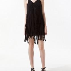 Püsküllü Siyah Zara Elbise Modelleri