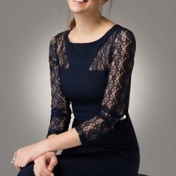 Dantelli Lacivert Modagram Elbise Modelleri