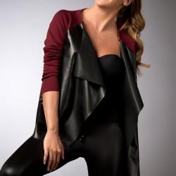 Deri Detaylı Bordo Hırka Emporium Fashion Week Modelleri