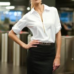 Fermuarlı Ekru Bluz Yeni Sezon Pretty Mark Modelleri