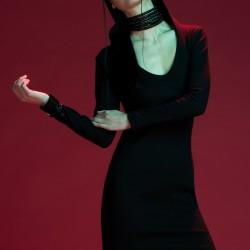 Siyah Elbise Yeni Japon Stili Modeller