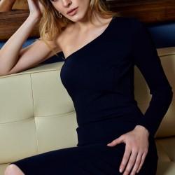 Tek Omuz Siyah Elbise Modelleri