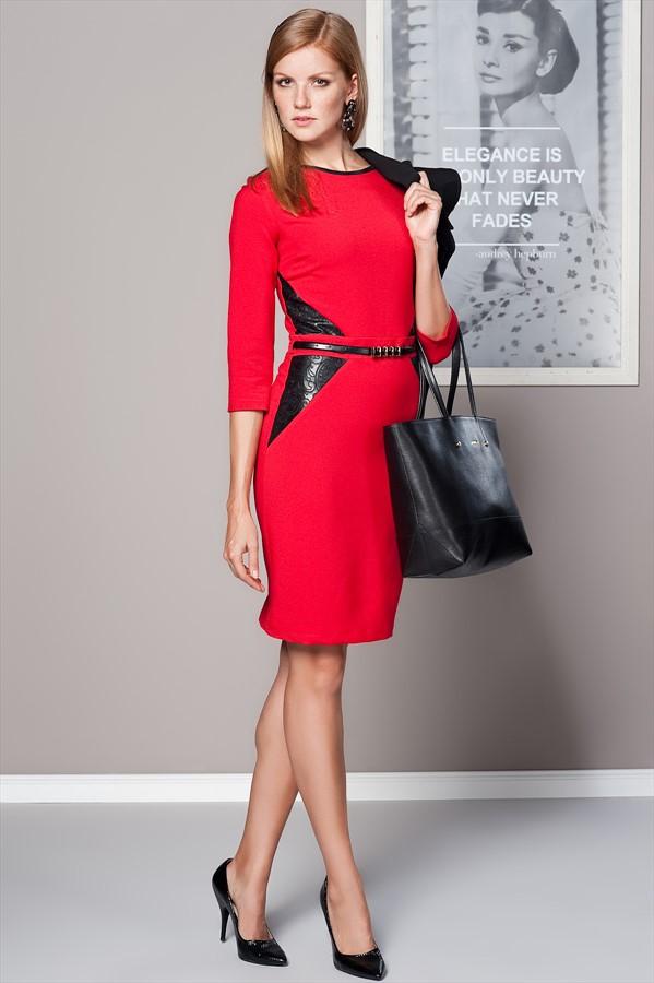 Kemerli Kırmızı Elbise Duse Yeni Sezon Modelleri