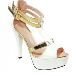 Platform Topuk Beyaz Dore İnce Topuk 2015 Ayakkabı Modelleri