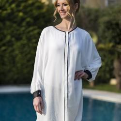 Siyah Şeritli Beyaz Yeni Sezon Tuay Karaca Tunik Modelleri