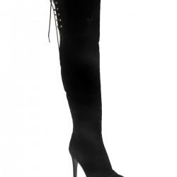 Siyah Süet Çizme İnce Topuk 2015 Ayakkabı Modelleri