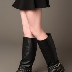 Zımba ve Zincir Detaylı Çizme 2015 Fox Ayakkabı Modelleri