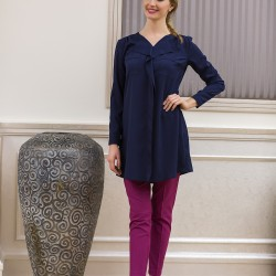 Zarif Lacivert Yeni Sezon Tuay Karaca Tunik Modelleri
