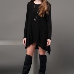 Asimetrik Kesim Tunik Siyah Kıyafet Modelleri