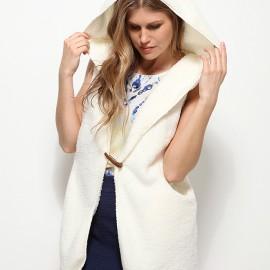 Beyaz Polar Yelek Yeni Koton Modelleri