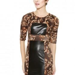 Deri Detaylı Desenli Elbise Yeni Sezon Afrodit Modelleri