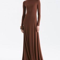 Kahve Tonlarında Sade Elbise Ralph Lauren 2015 Sonbahar Modelleri