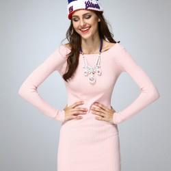 Kayık Yaka Pudra Elbise 2015 Dilvin Modelleri